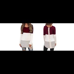 Tops - Ivory and Burgundy Lace Tunic Top